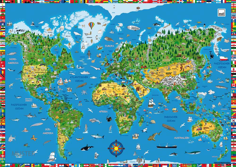 psaci podlozka mapa - Delso - dětský, kancelářský a bytový nábytek