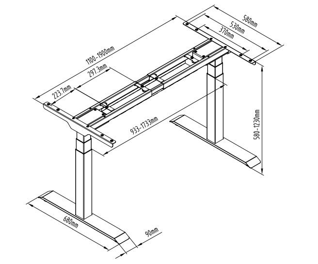 DEF223 rozmery - Delso - dětský, kancelářský a bytový nábytek